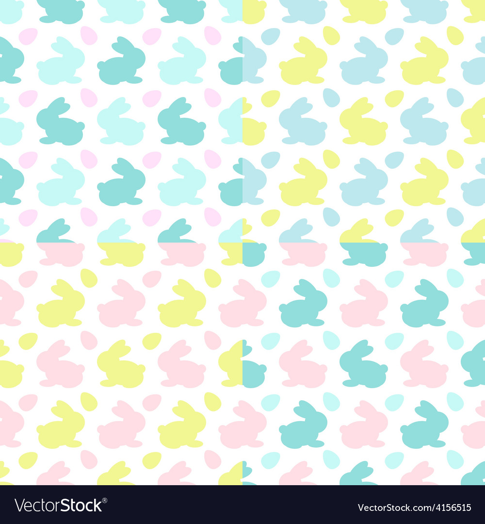 Colourful bunnies silhouettes patterns vector | Price: 1 Credit (USD $1)