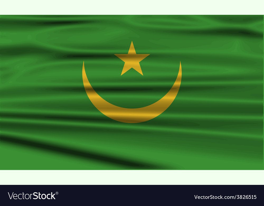Flag of mauritania with old texture vector | Price: 1 Credit (USD $1)