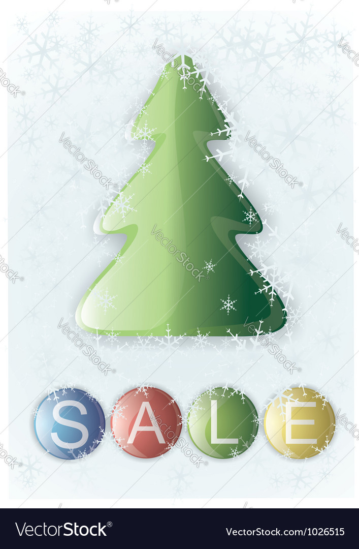 Glass christmas tree and a button labeled sale vector | Price: 1 Credit (USD $1)