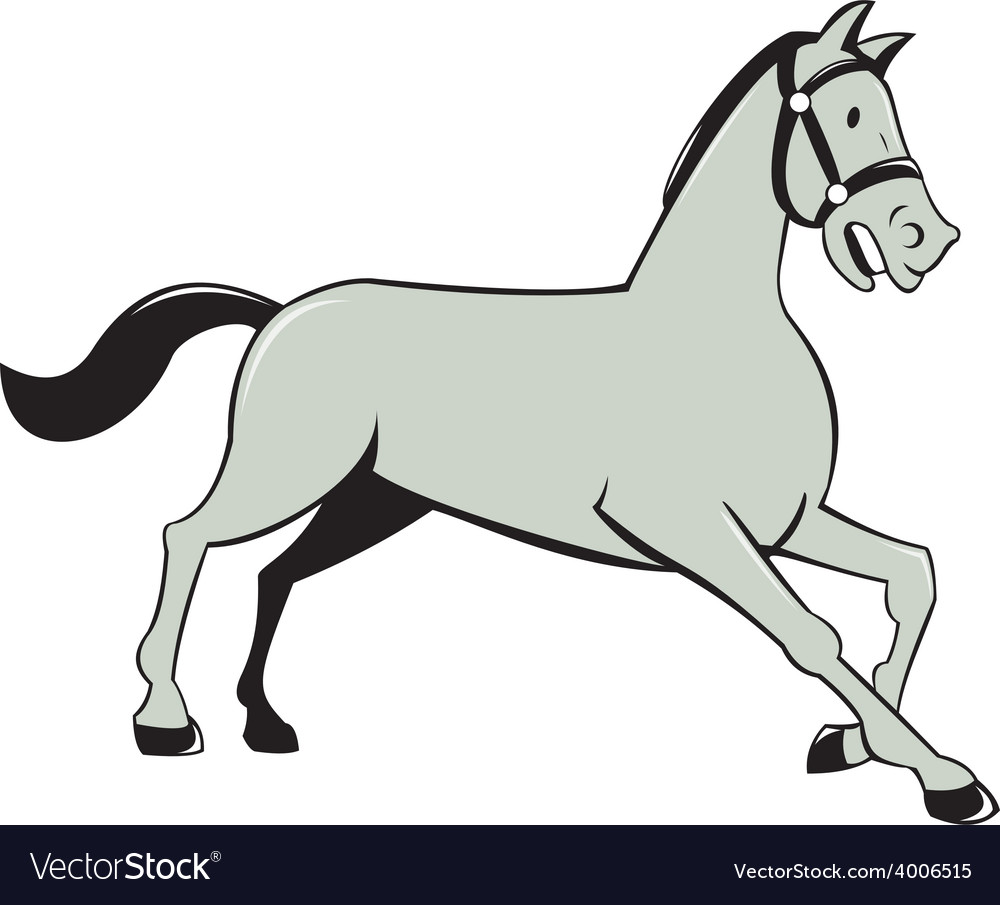Horse trotting side cartoon isolated vector | Price: 1 Credit (USD $1)