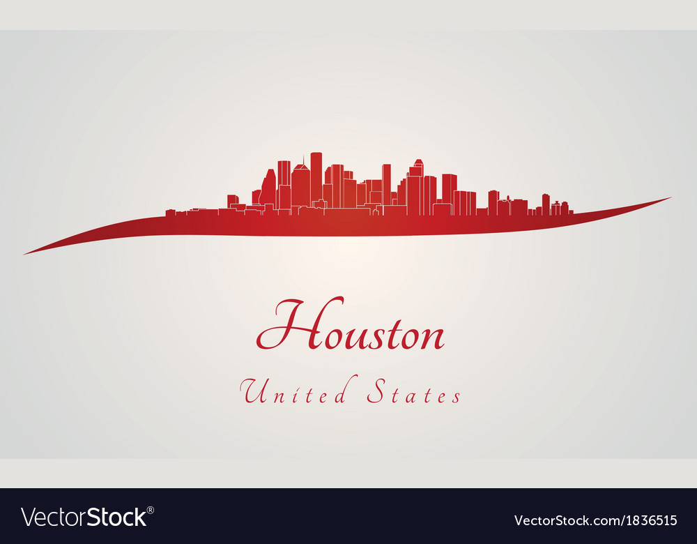 Houston skyline in red vector | Price: 1 Credit (USD $1)