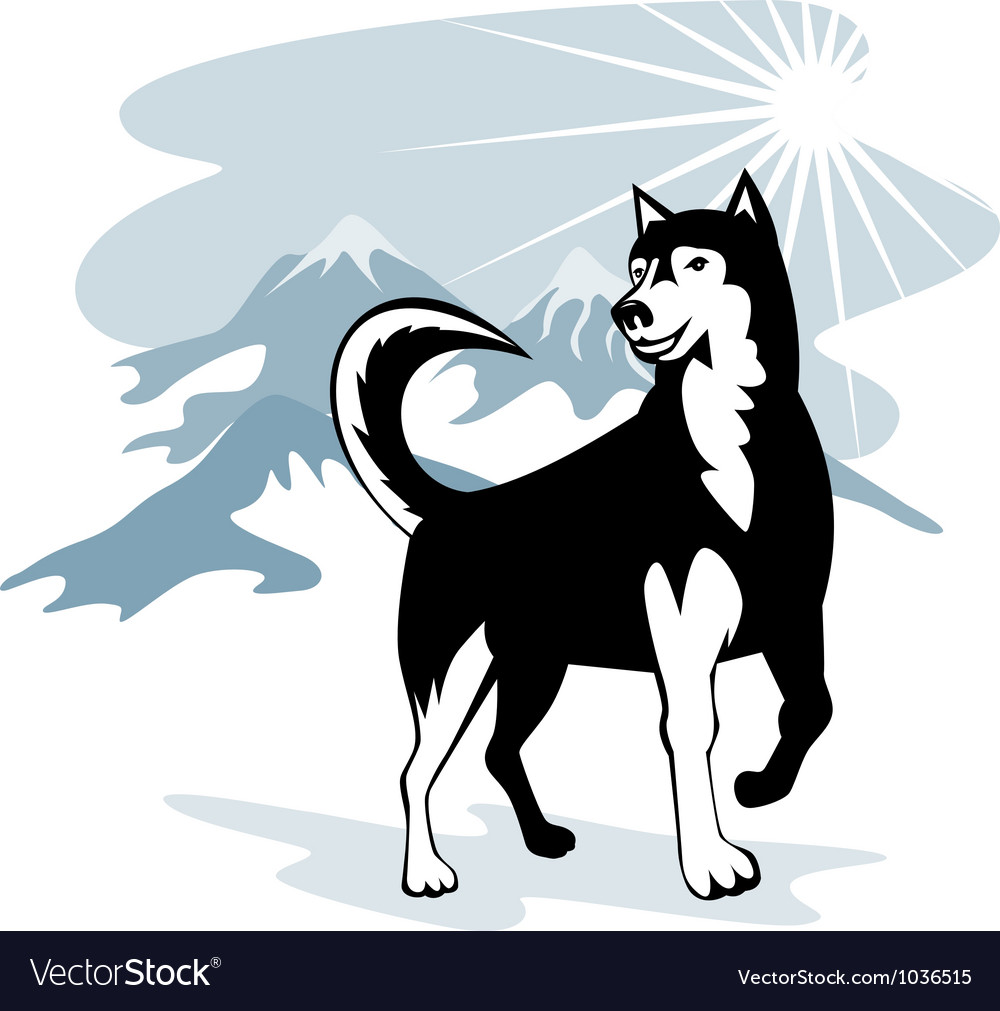 Husky wild dog wolf retro vector | Price: 1 Credit (USD $1)
