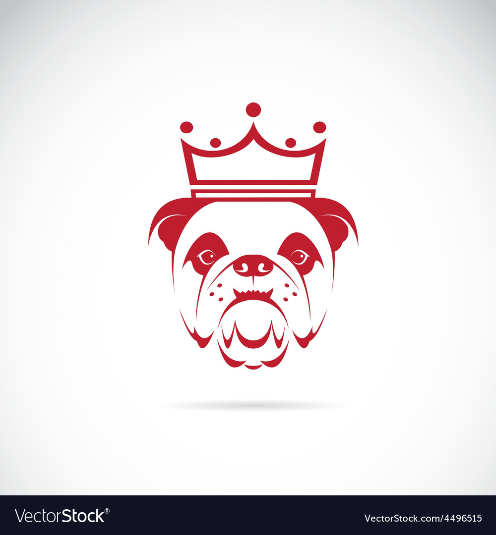 Image of bulldog head wearing a crown vector | Price: 1 Credit (USD $1)