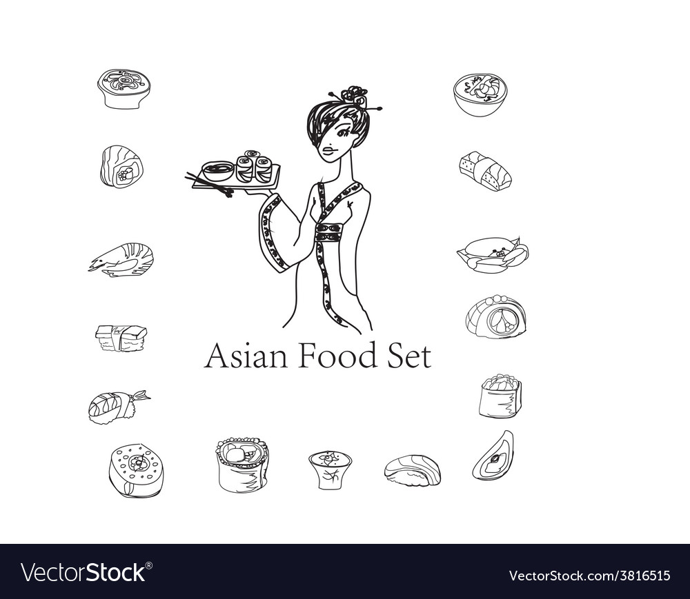 Japanese girl and sushi doodle set vector | Price: 1 Credit (USD $1)