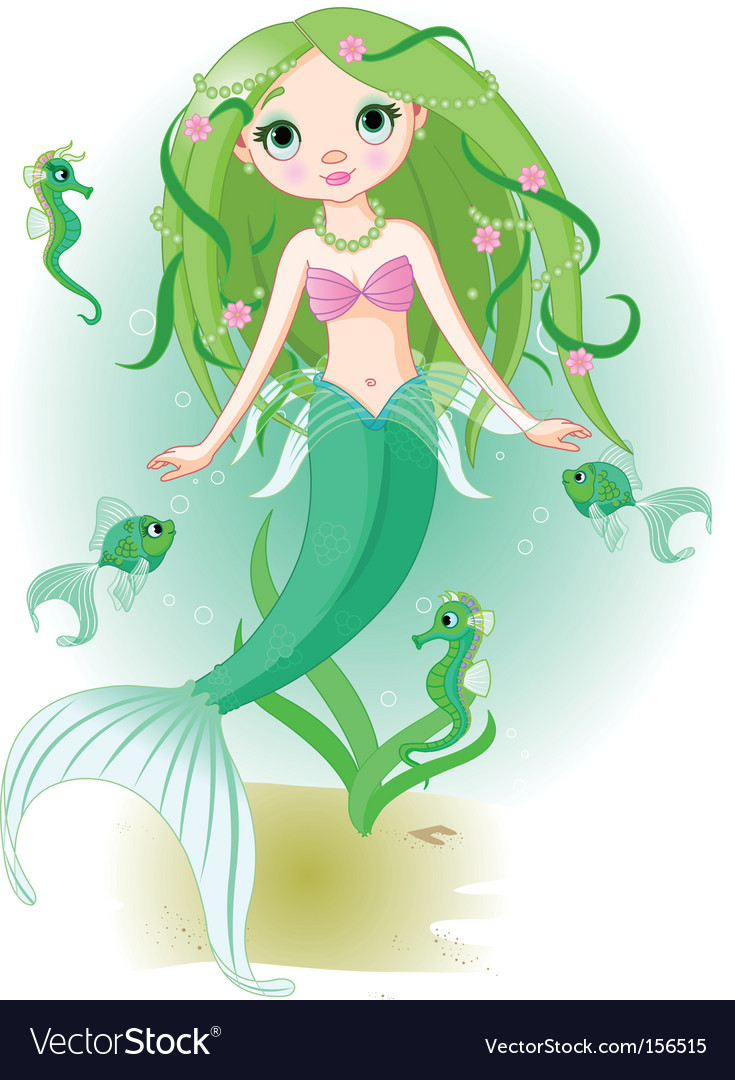 Mermaid girl under the sea vector
