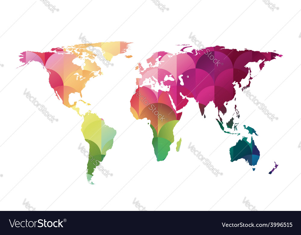 Mosaic world map vector | Price: 1 Credit (USD $1)