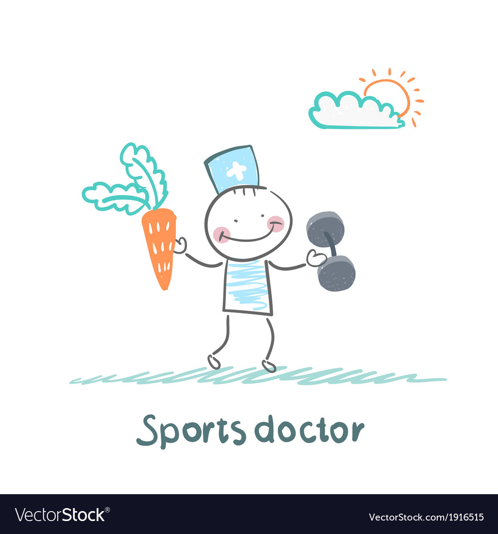 Sports doctor offers a carrot and holding vector | Price: 1 Credit (USD $1)