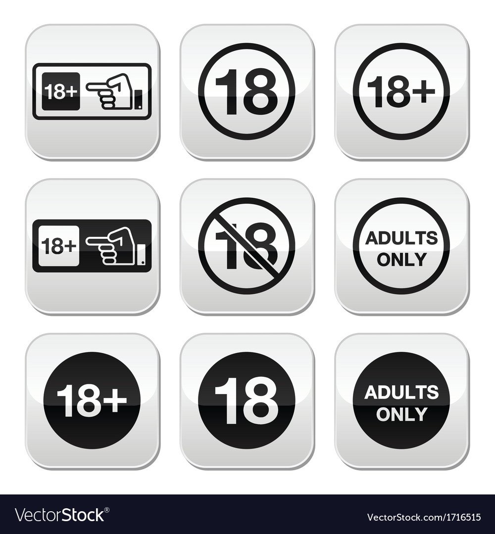 Under 18 adults only warning sign buttons vector | Price: 1 Credit (USD $1)