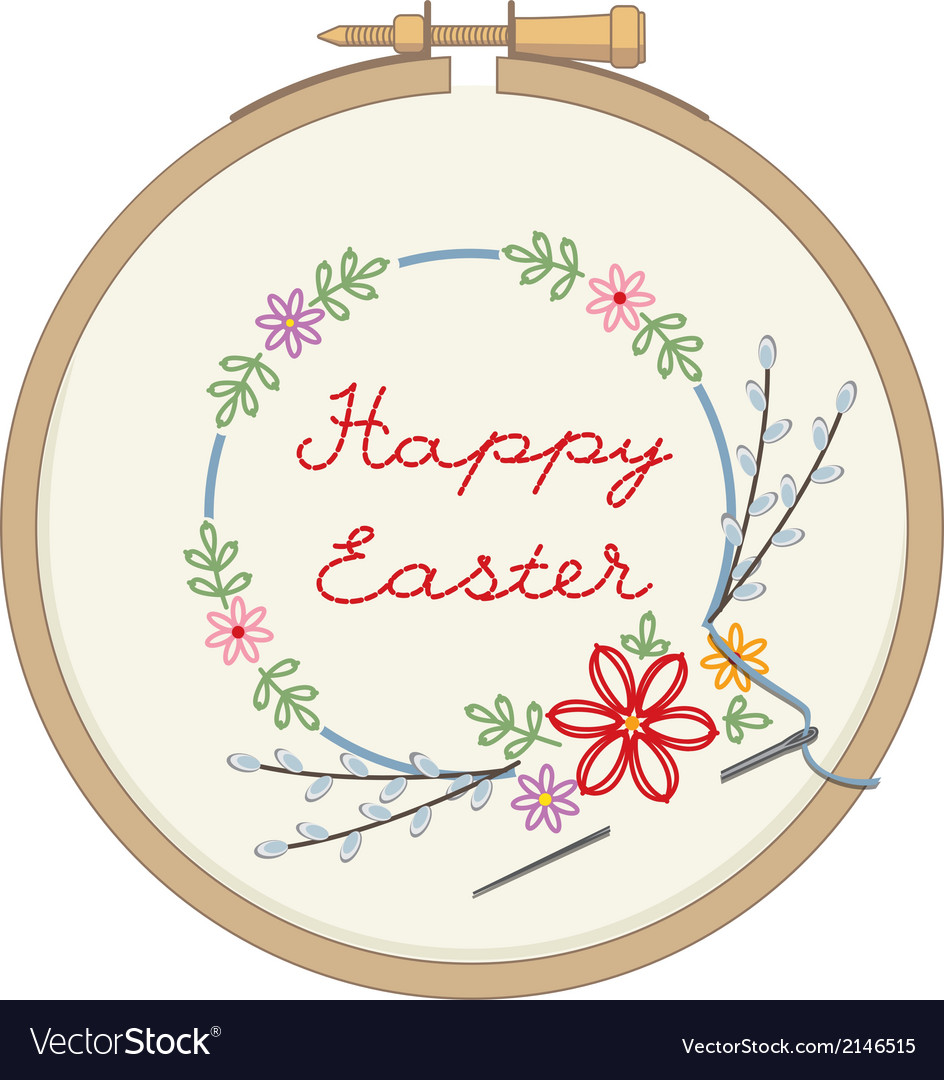 Wooden hoop with embroidery for easter vector | Price: 1 Credit (USD $1)