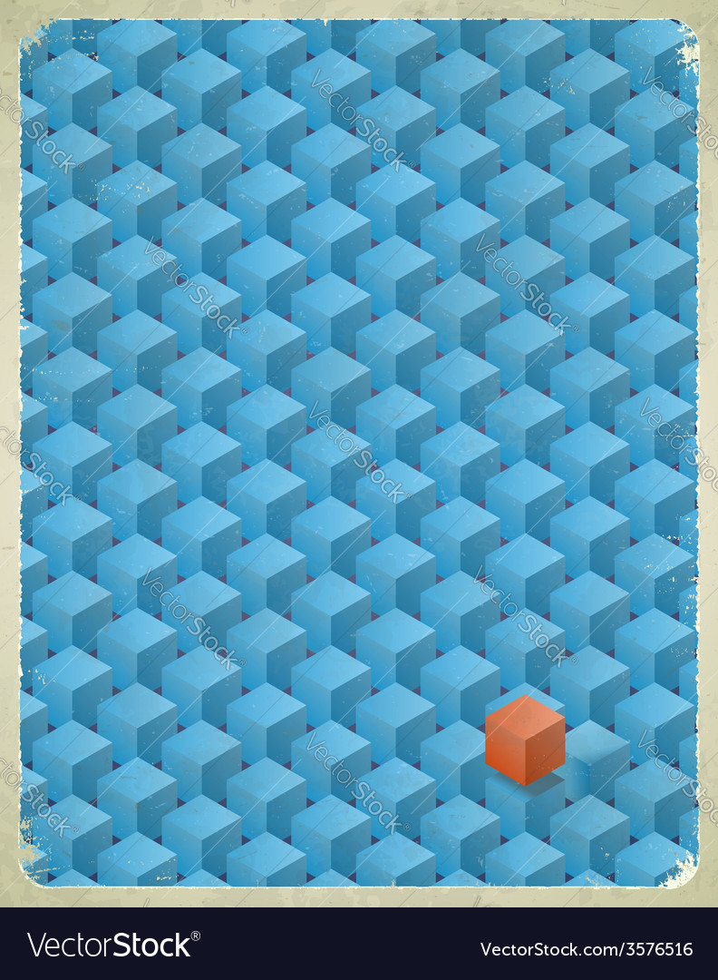 Aged card with cubes pattern vector | Price: 1 Credit (USD $1)