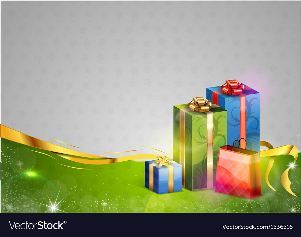 Christmas background two color gifts vector | Price: 1 Credit (USD $1)