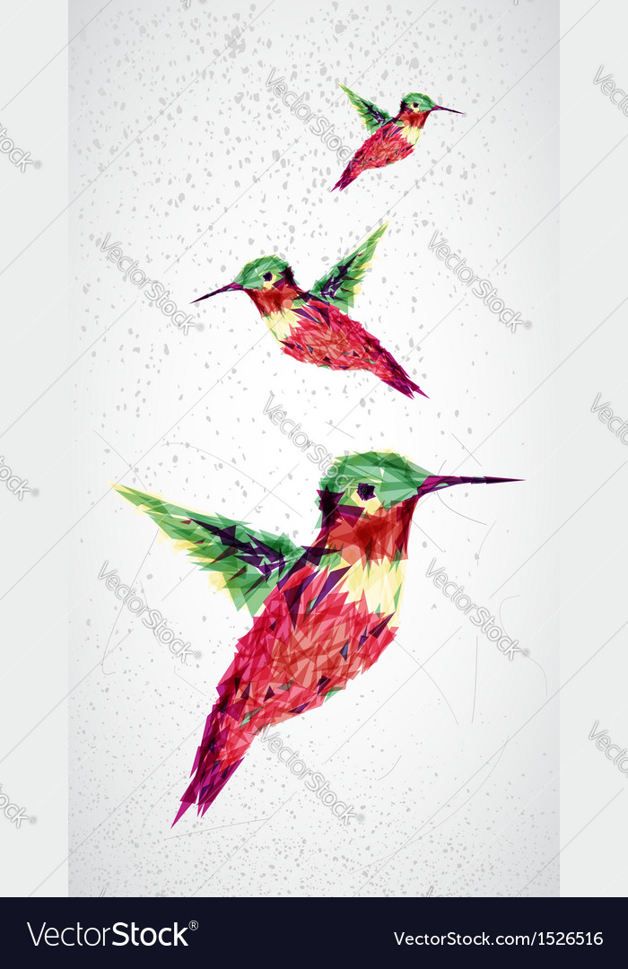 Humming bird geometric vector | Price: 1 Credit (USD $1)