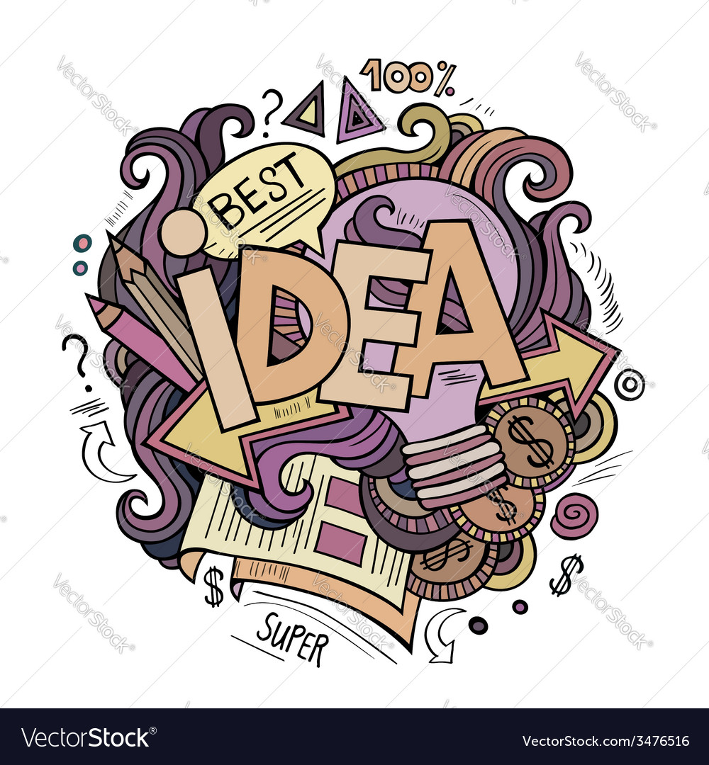 Idea hand lettering and doodles cartoon elements vector | Price: 1 Credit (USD $1)