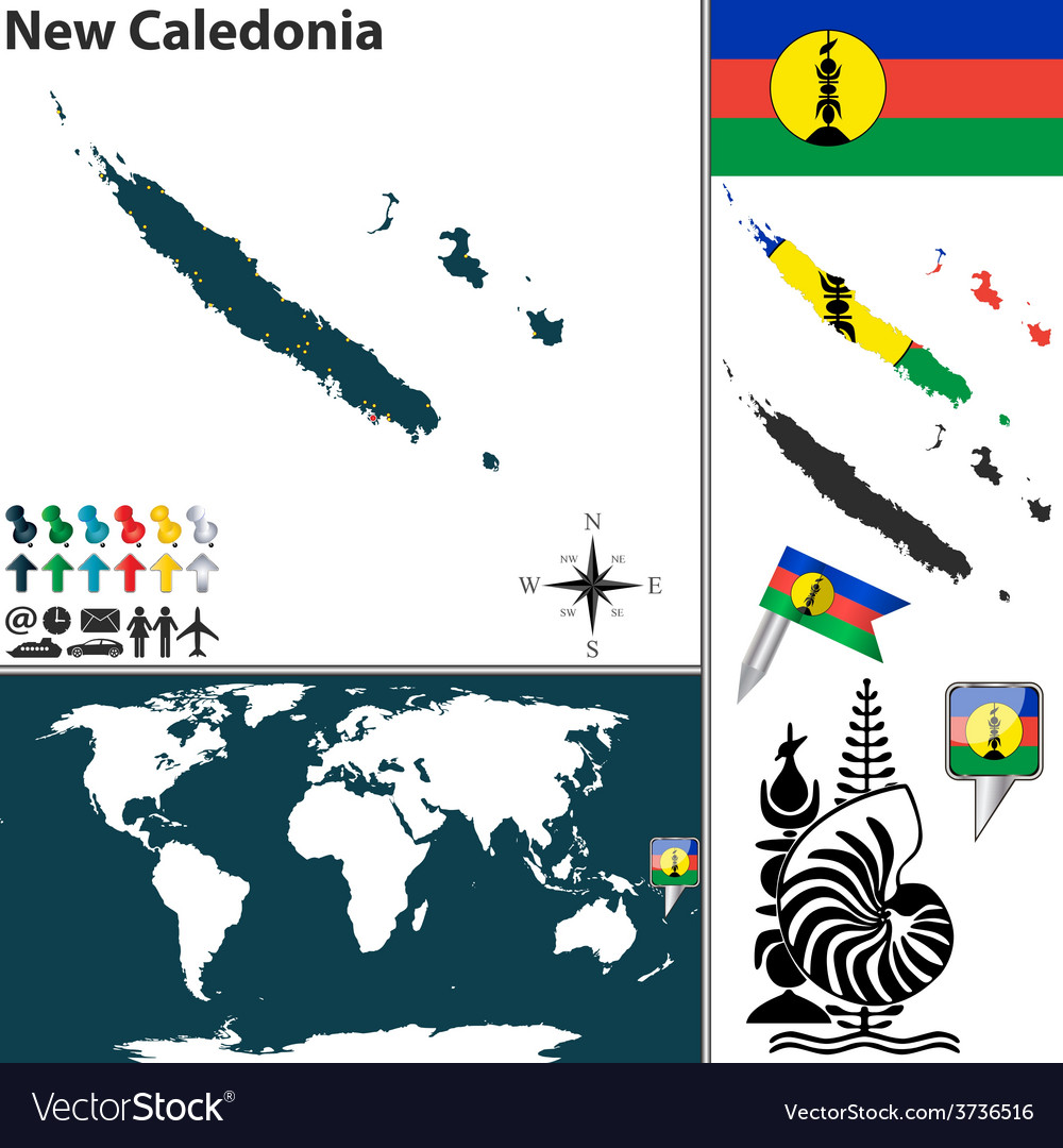 New caledonia world map vector | Price: 1 Credit (USD $1)