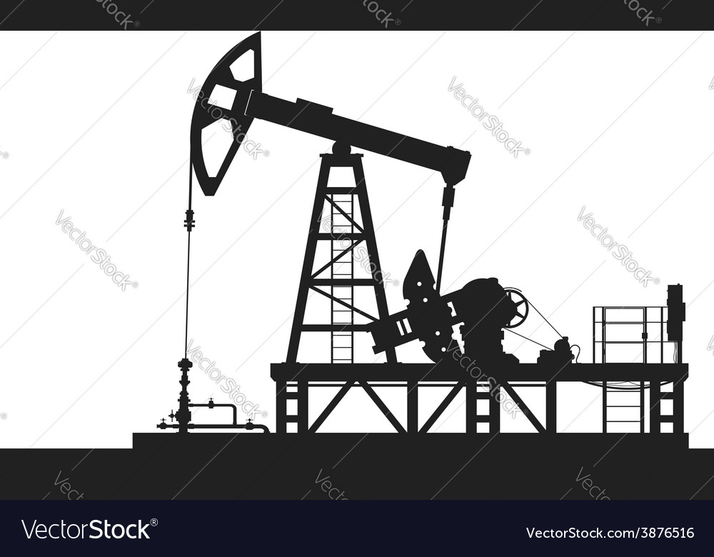 Oil pump silhouette isolated on white background vector | Price: 1 Credit (USD $1)