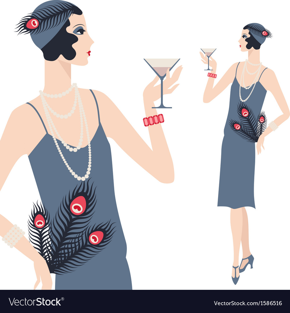 Retro young beautiful girl of 1920s style vector | Price: 1 Credit (USD $1)