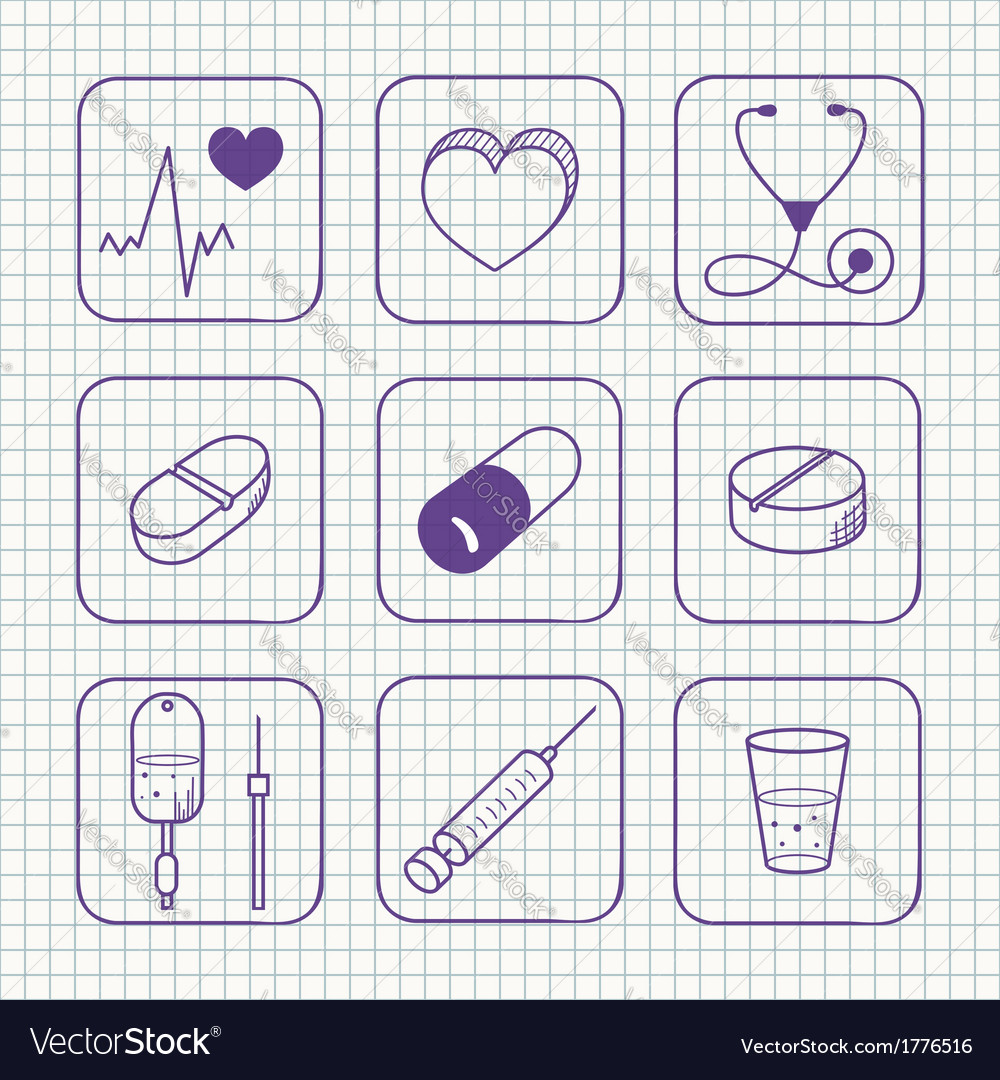 Sketches simple medical icons set vector | Price: 1 Credit (USD $1)