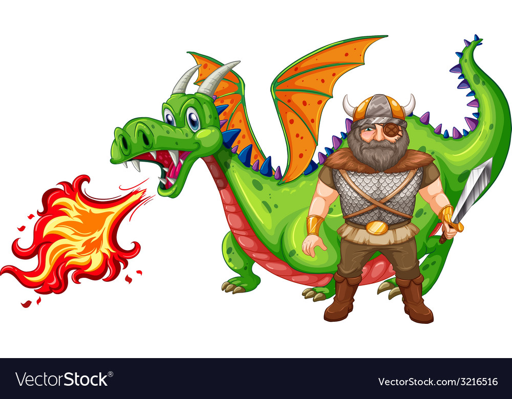 Viking and dragon vector | Price: 3 Credit (USD $3)