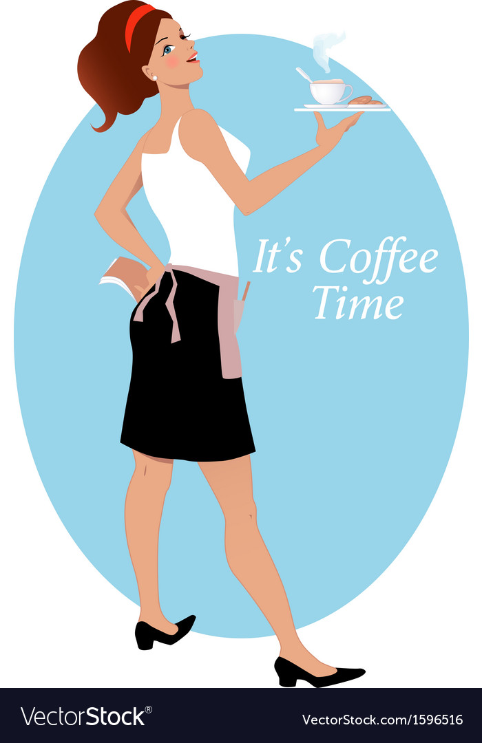 Waitress with coffee and biscuits vector | Price: 1 Credit (USD $1)