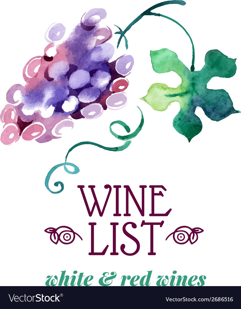 Wine list hand drawn sketch and watercolor vector | Price: 1 Credit (USD $1)