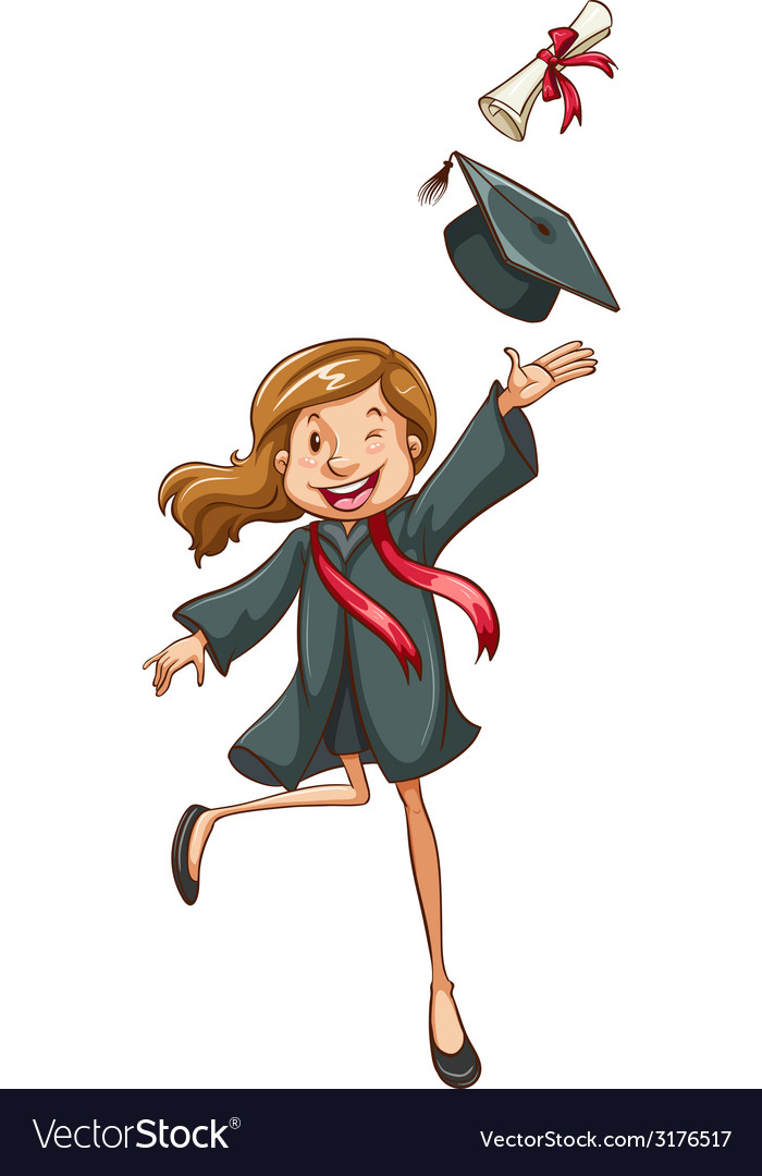 A simple drawing of a happy girl graduating vector | Price: 1 Credit (USD $1)