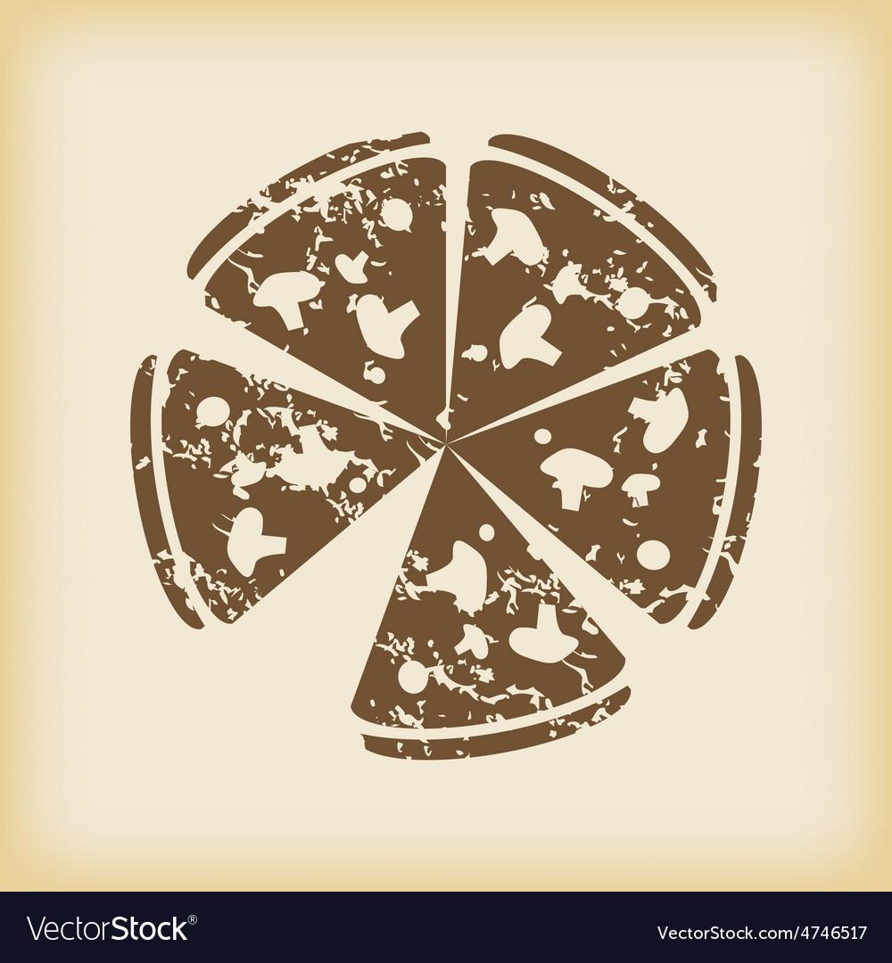 Grungy pizza icon vector | Price: 1 Credit (USD $1)