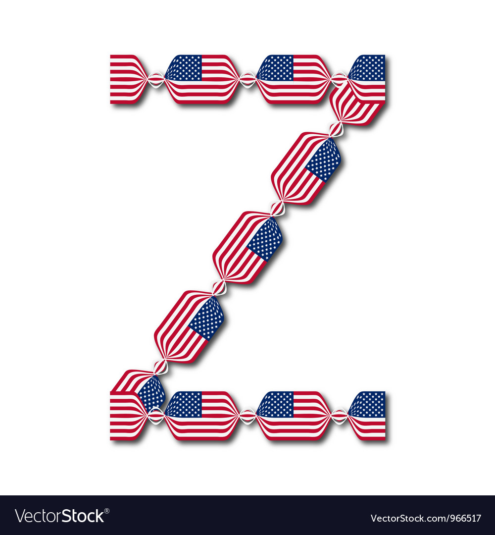 Letter z made of usa flags in form of candies vector | Price: 1 Credit (USD $1)