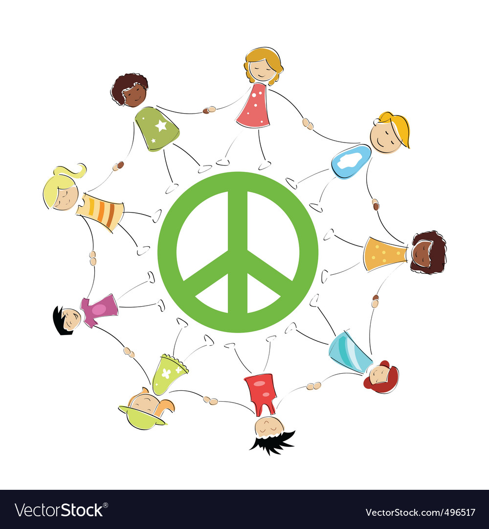 Peace sign with kids vector | Price: 1 Credit (USD $1)
