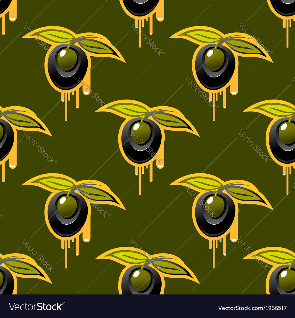 Repeat background seamless pattern of fresh olives vector | Price: 1 Credit (USD $1)