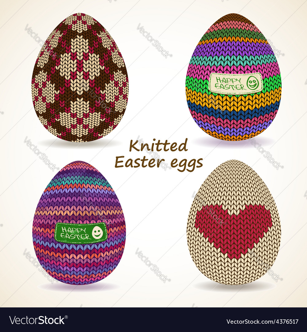 Set of knitted easter eggs icons vector | Price: 1 Credit (USD $1)