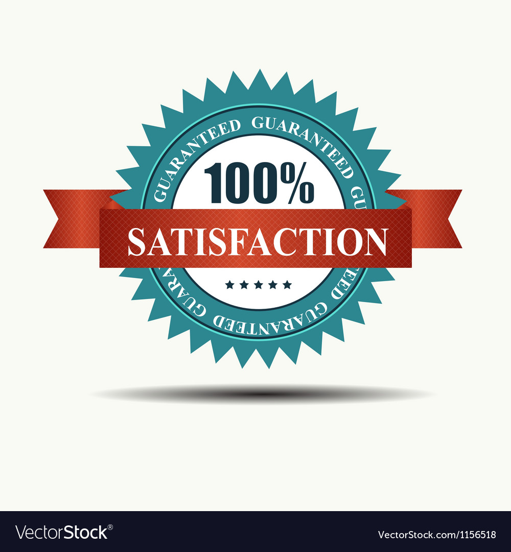 100 satisfaction guaranteed retro label with red vector | Price: 1 Credit (USD $1)