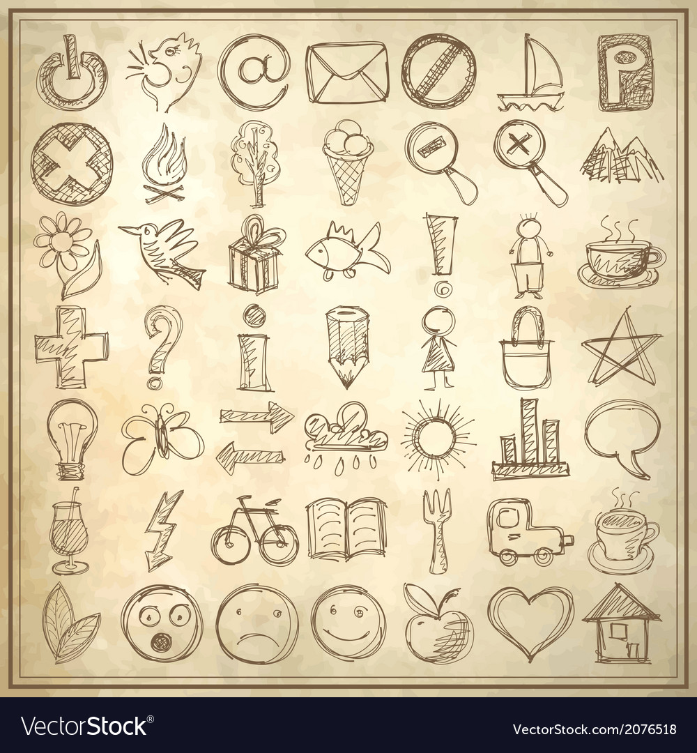 49 hand draw web icon design elements vector | Price: 1 Credit (USD $1)