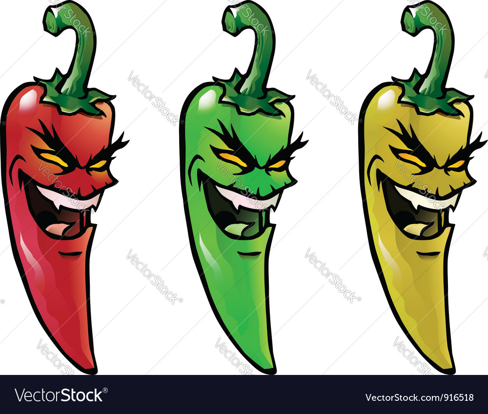 Evil hot chili peppers vector | Price: 1 Credit (USD $1)