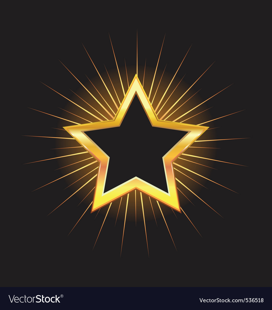 Gold star frame with beams vector | Price: 1 Credit (USD $1)