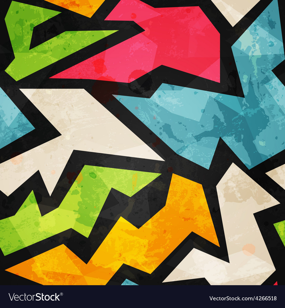 Graffiti mosaic seamless pattern with grunge vector