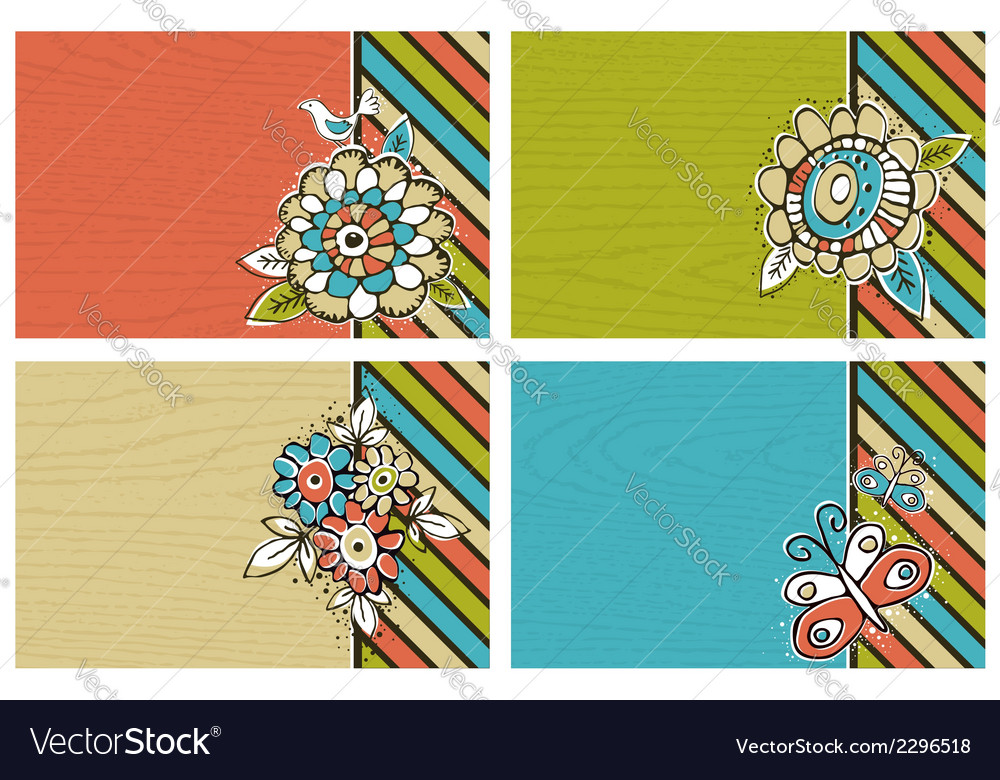 Hand draw flowers on color background vector | Price: 1 Credit (USD $1)