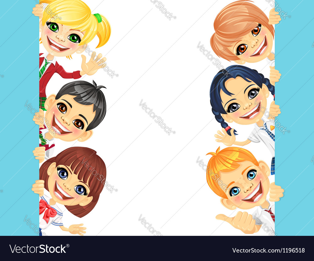 Happy smile kids and banner vector | Price: 3 Credit (USD $3)