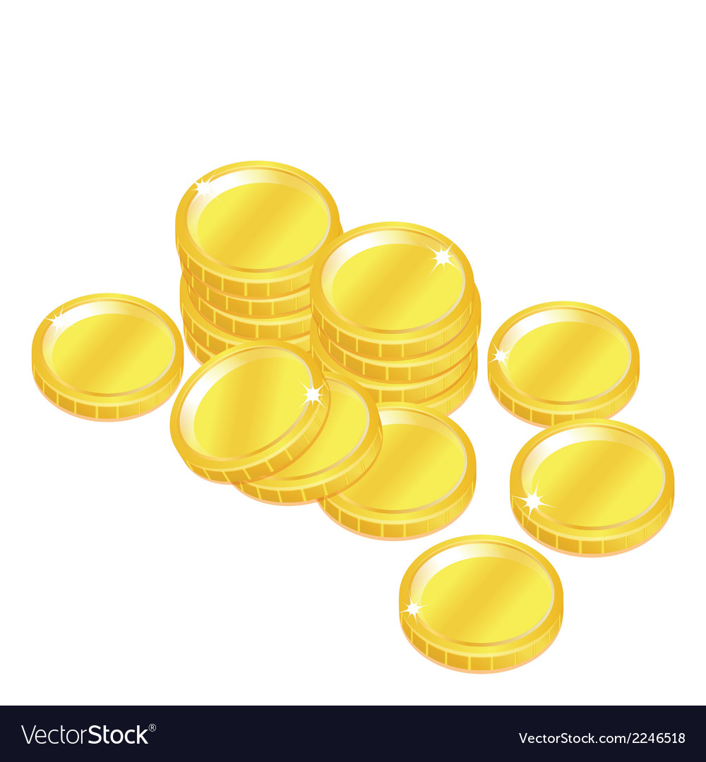 Popular gold coin penny stack isolated background vector | Price: 1 Credit (USD $1)