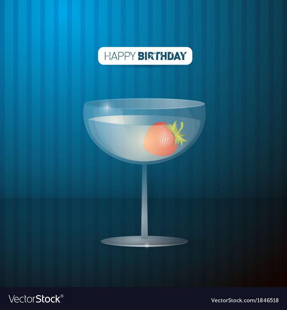 Retro blue happy birthday background with drink vector | Price: 1 Credit (USD $1)