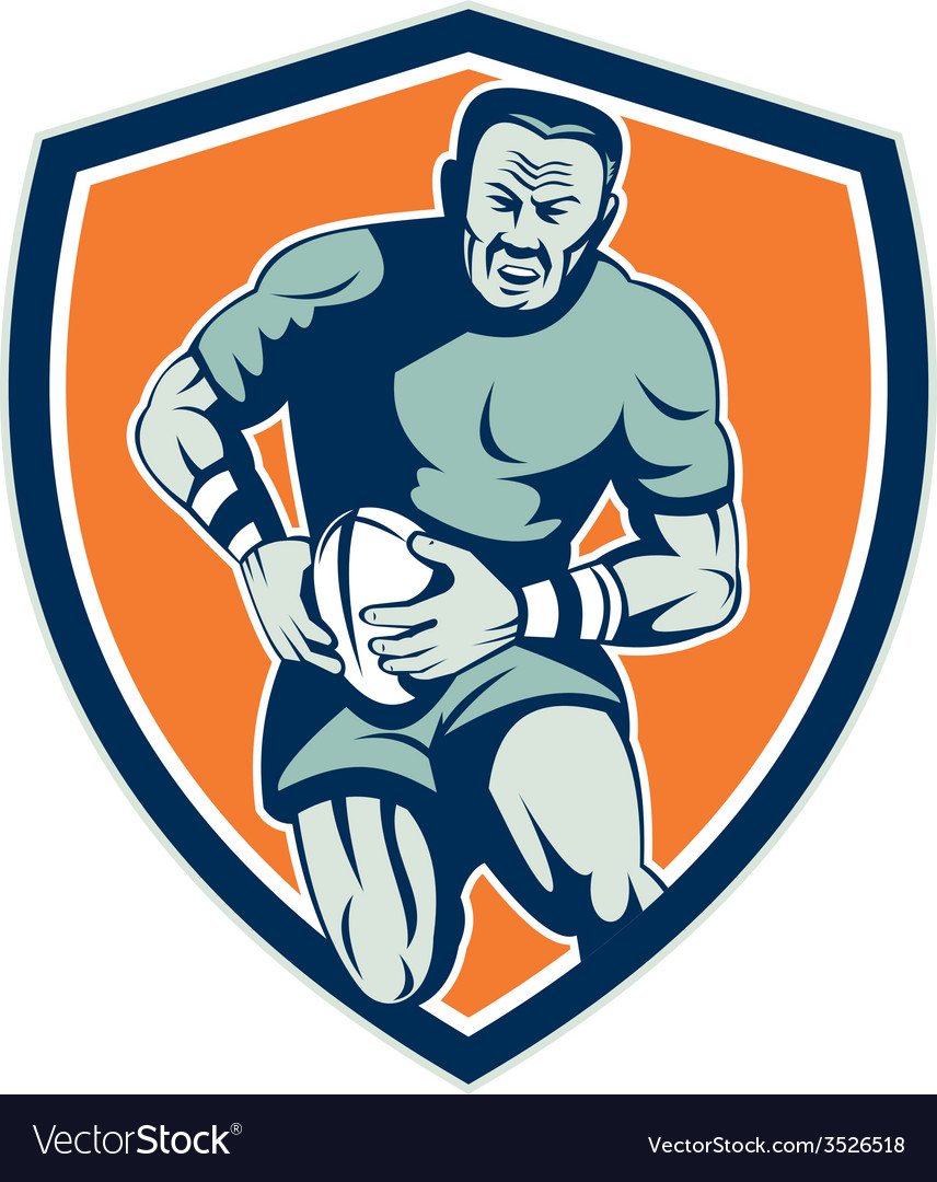 Rugby player running attacking shield retro vector   Price: 1 Credit (USD $1)