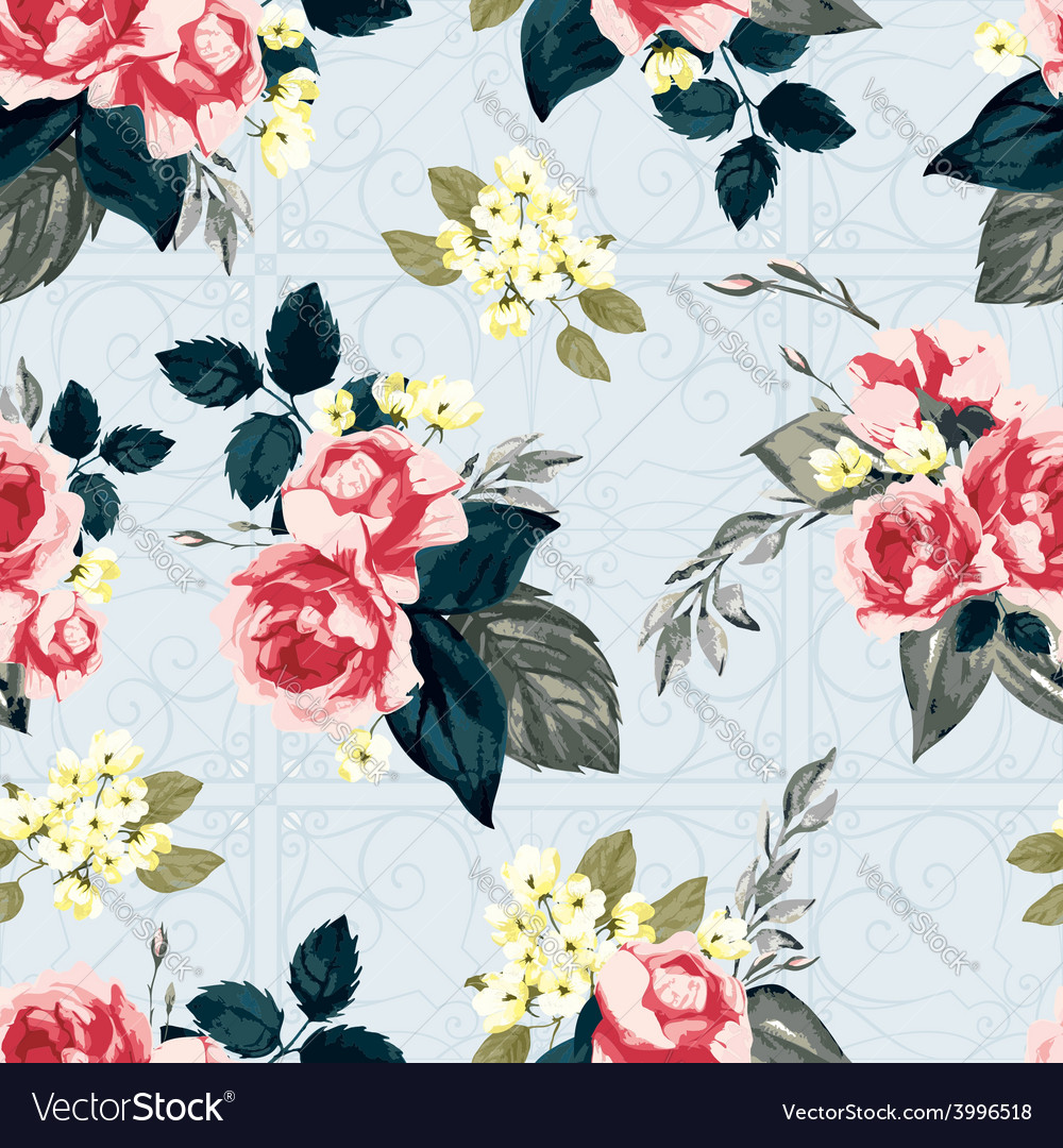 Seamless floral pattern with ornament vector | Price: 1 Credit (USD $1)
