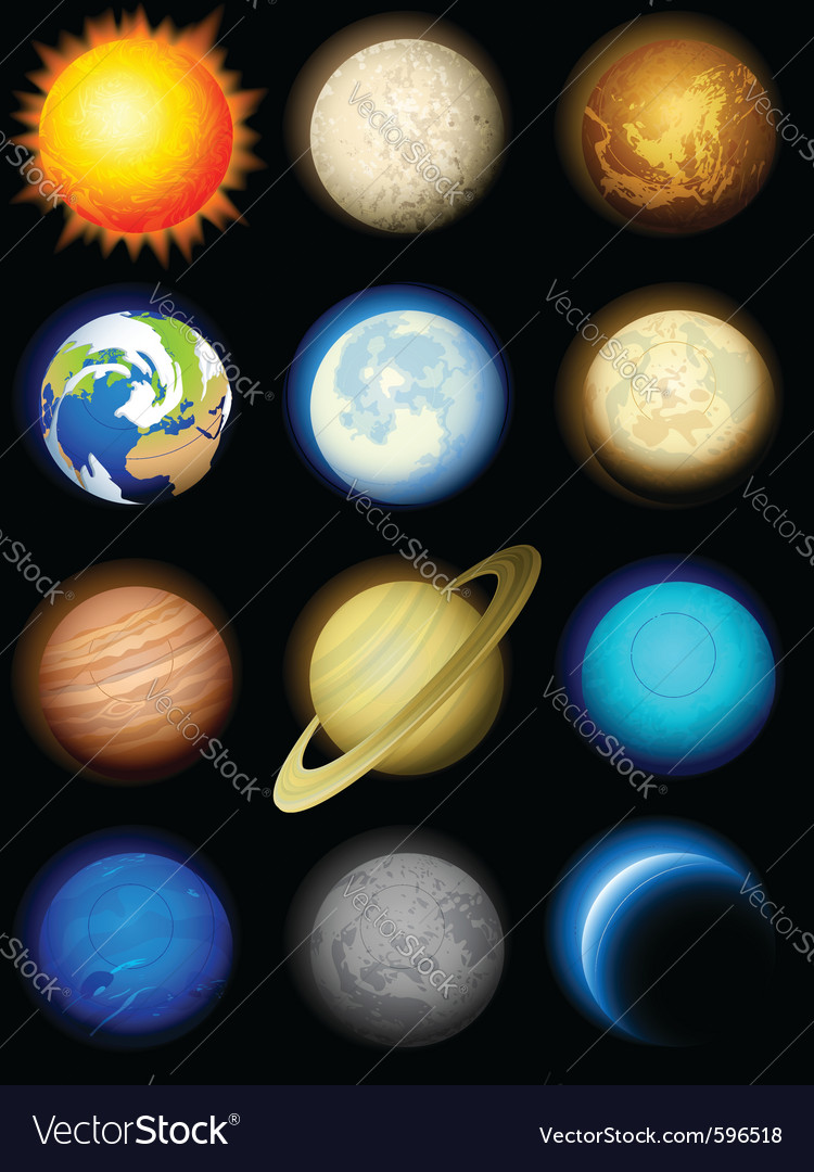 Solar system planets vector | Price: 3 Credit (USD $3)