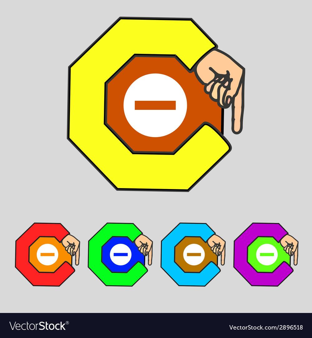 Stop sign icon prohibition symbol no sign set vector   Price: 1 Credit (USD $1)