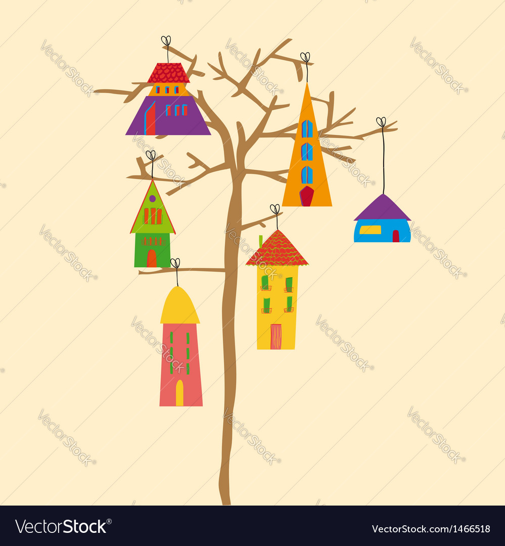 Tree little town vector | Price: 1 Credit (USD $1)