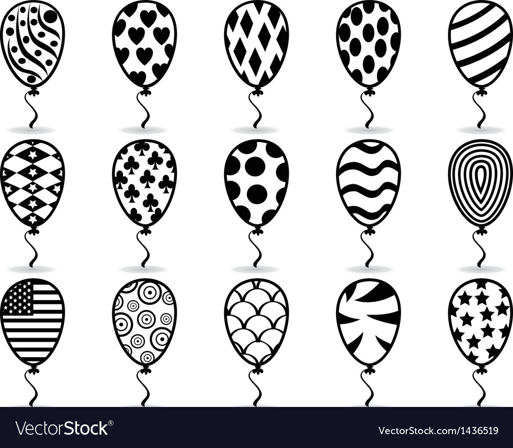 Black pattern balloon icons vector | Price: 1 Credit (USD $1)