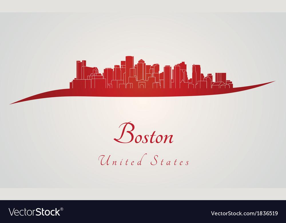Boston skyline in red vector   Price: 1 Credit (USD $1)