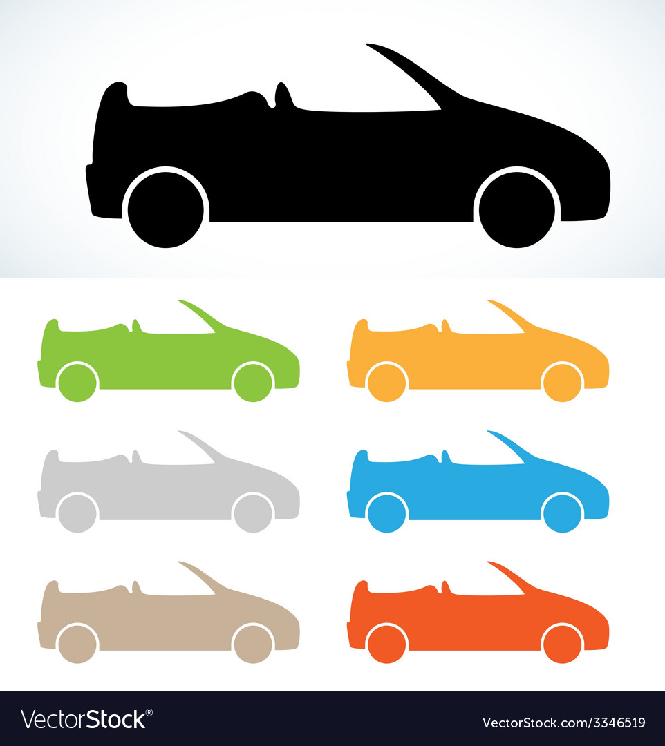 Cabriolet silhouette vector | Price: 1 Credit (USD $1)