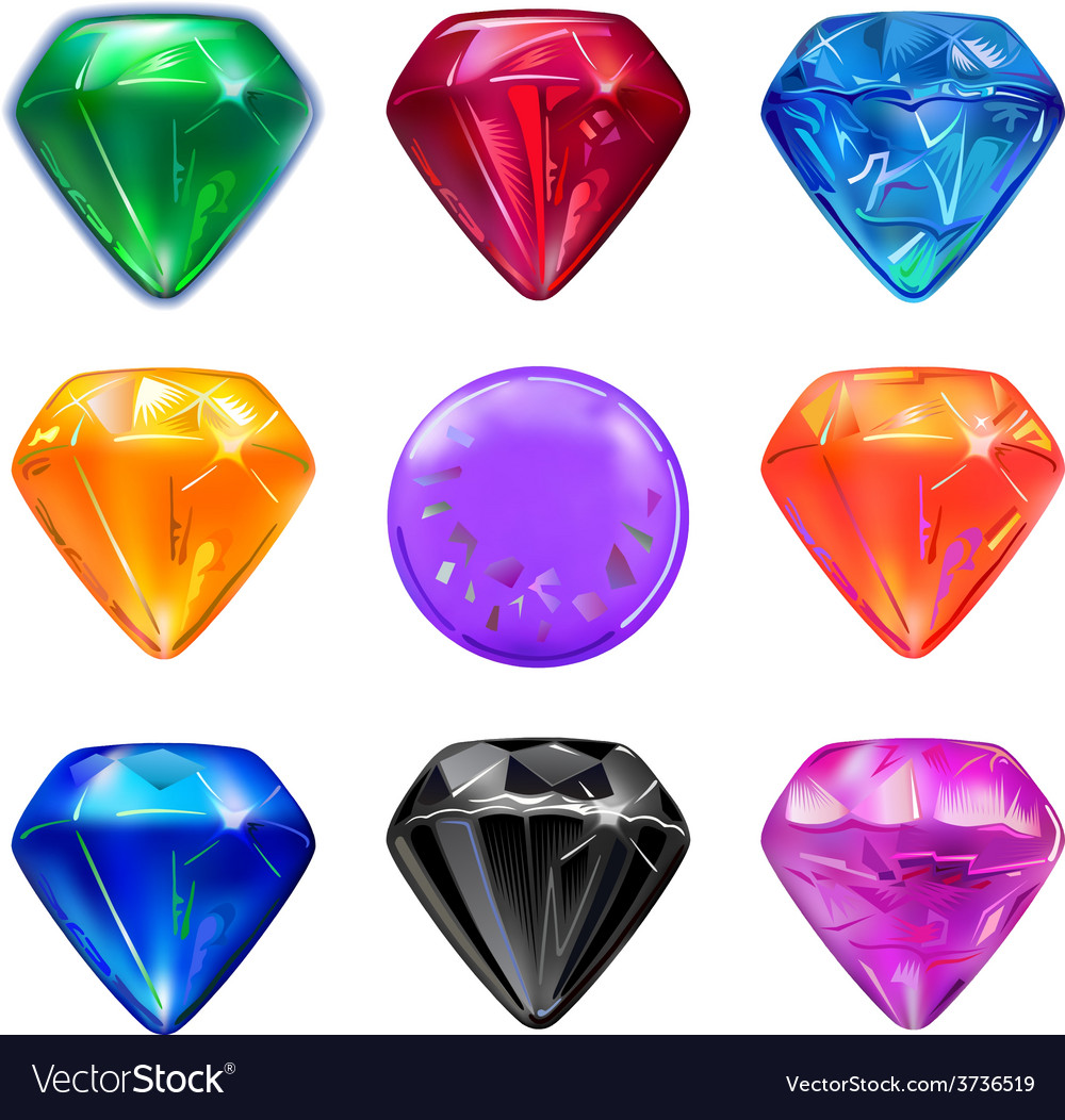 Colored gems game interface set vector | Price: 1 Credit (USD $1)