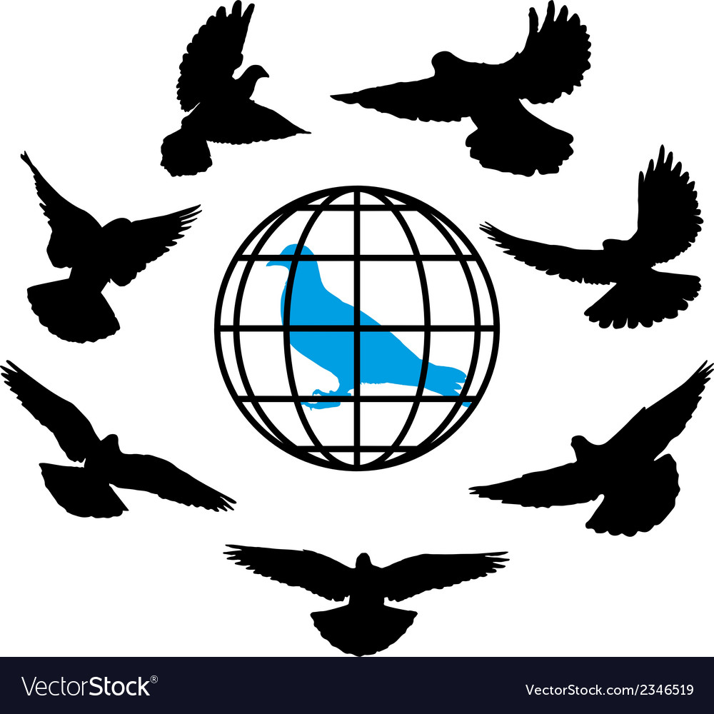 Doves silhouette against the background of globe vector | Price: 1 Credit (USD $1)