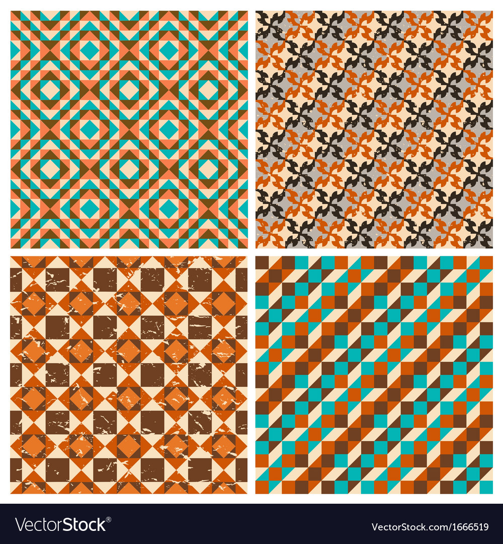 Set of seamless geometric retro patterns vector | Price: 1 Credit (USD $1)